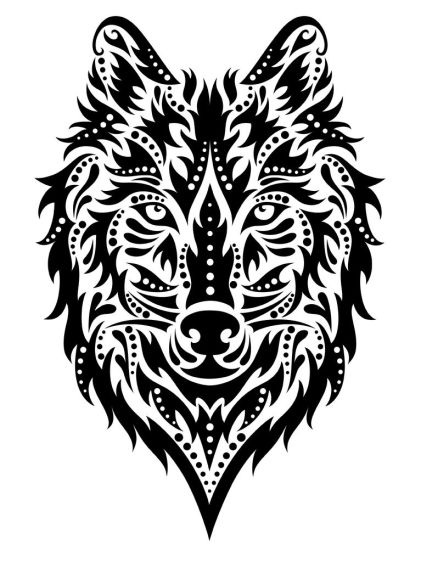 31557961 - pattern in a shape of a wolf on the white background.