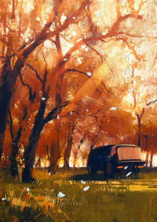 43033367 - old travelling van in beautiful autumn forest,digital painting