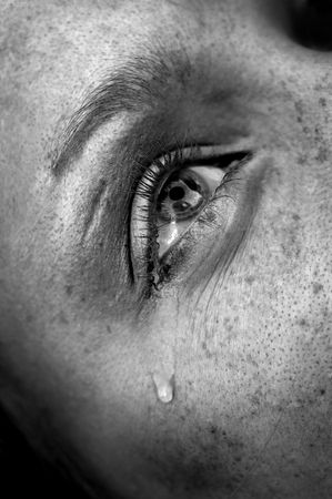 1877453 - crying woman's eye, black and white image, low key, selective focus