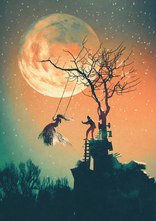 44954075 - halloween night background with man pushing woman on swing