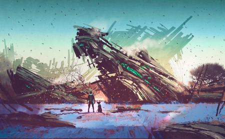 46076352 - spaceship crashed on blue field,illustration painting