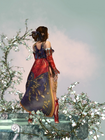 25512273 - 3d computer graphics of a fantasy scene with a lady with cloak