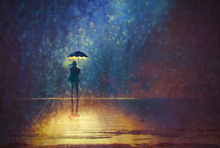 50661702 - lonely woman under umbrella lights in the dark,digital painting