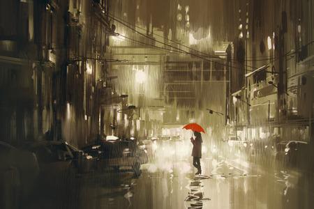 52889366 - woman with red umbrella crossing the street,rainy night,illustration